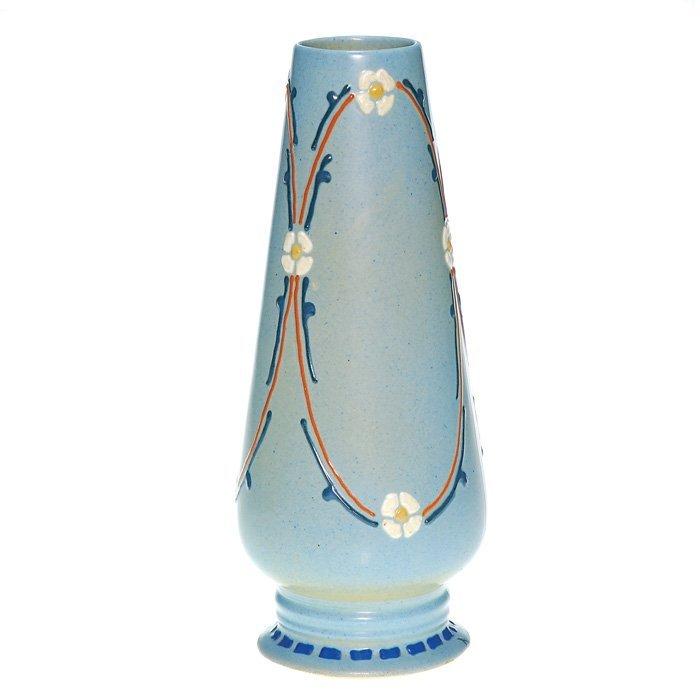 """0010: Roseville Aztec 10 3/4"""" vase, floral, signed """"R"""""""