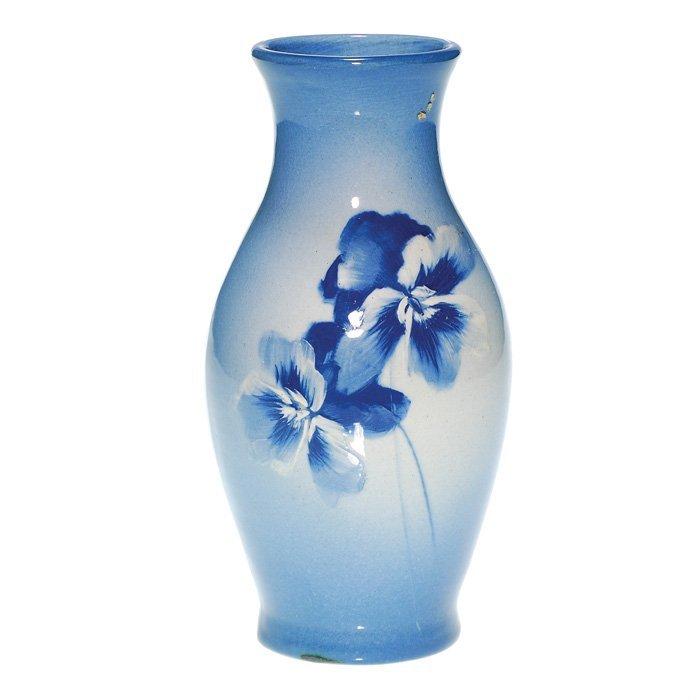 "0011: Roseville Azurean 8 3/8"" vase, Pansies"