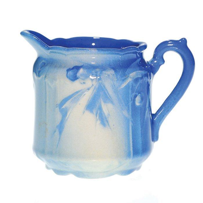 "0012: Roseville Azurean 3 1/2"" pitcher, floral & berry"