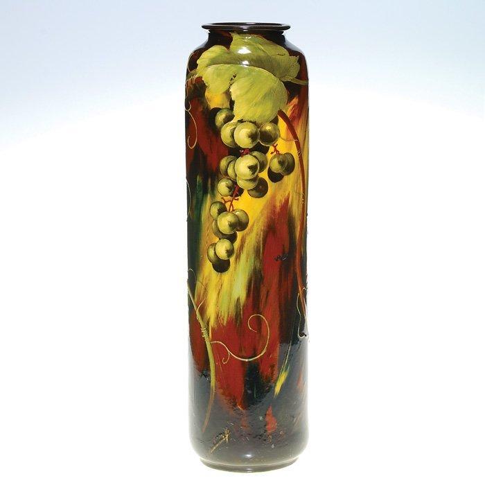 "0016: Weller Aurelian 20"" vase, grapes, Ferrell"
