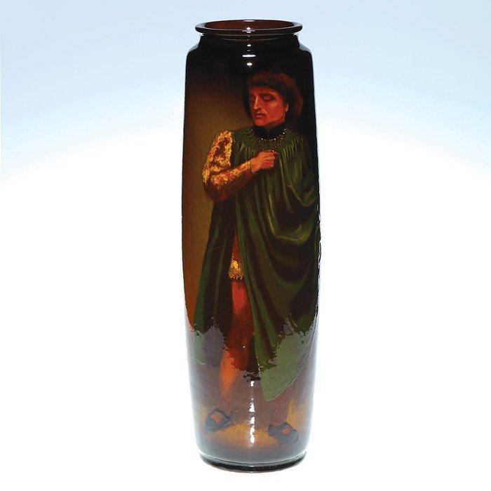 0017: Roseville Rozane Dark vase, Standing Figure