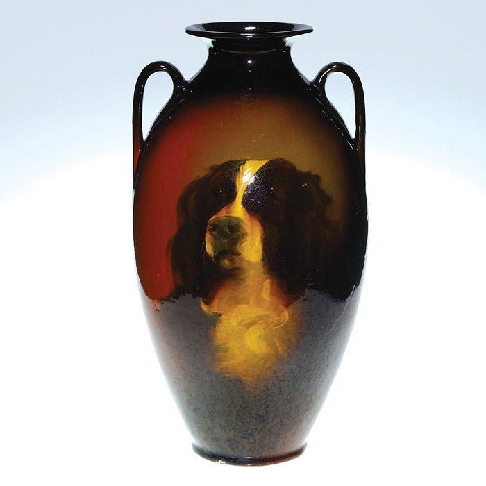 "0018: Roseville Rozane 21"" ""Dog Portrait"" vase"