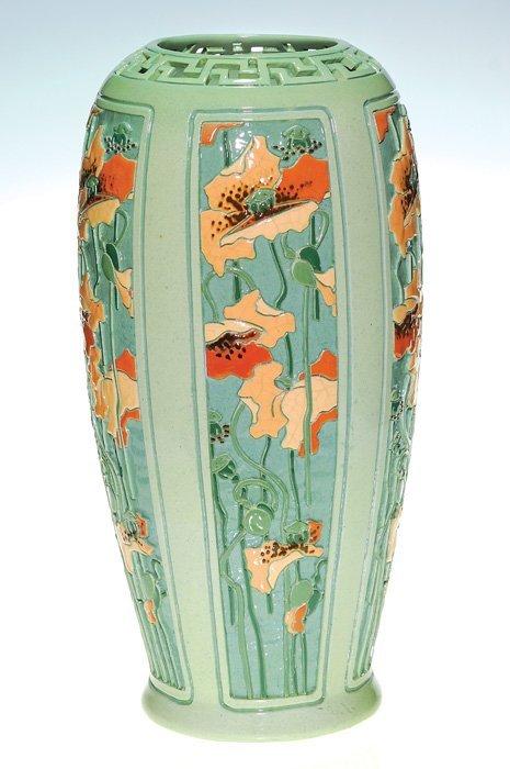 "0115A: Roseville Della Robbia vase, poppies, 17 3/8"""