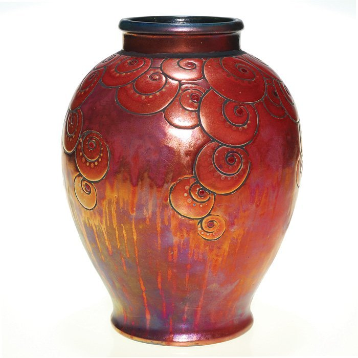 "0458: Jean Barol copper lustre Art Deco vase, 7 5/8"""