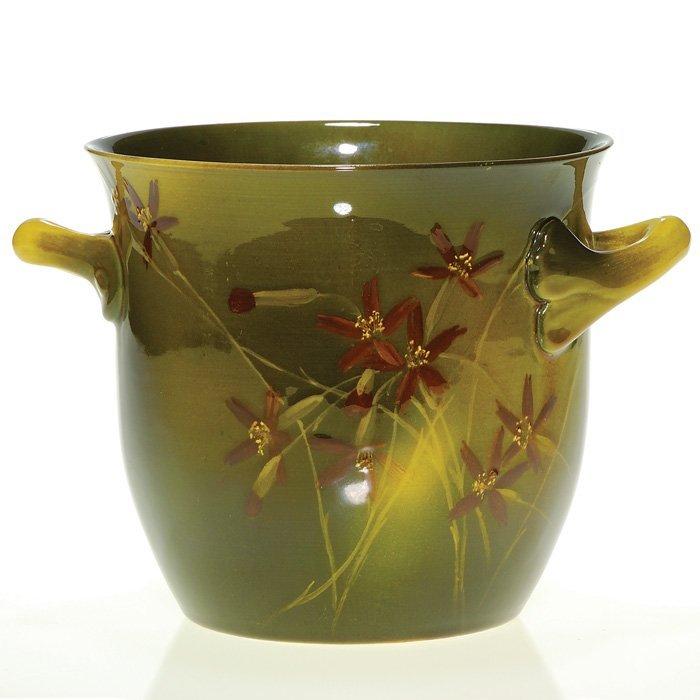 """1008: Rookwood 5 1/2"""" cache pot, 1893, floral, Ed Abel"""