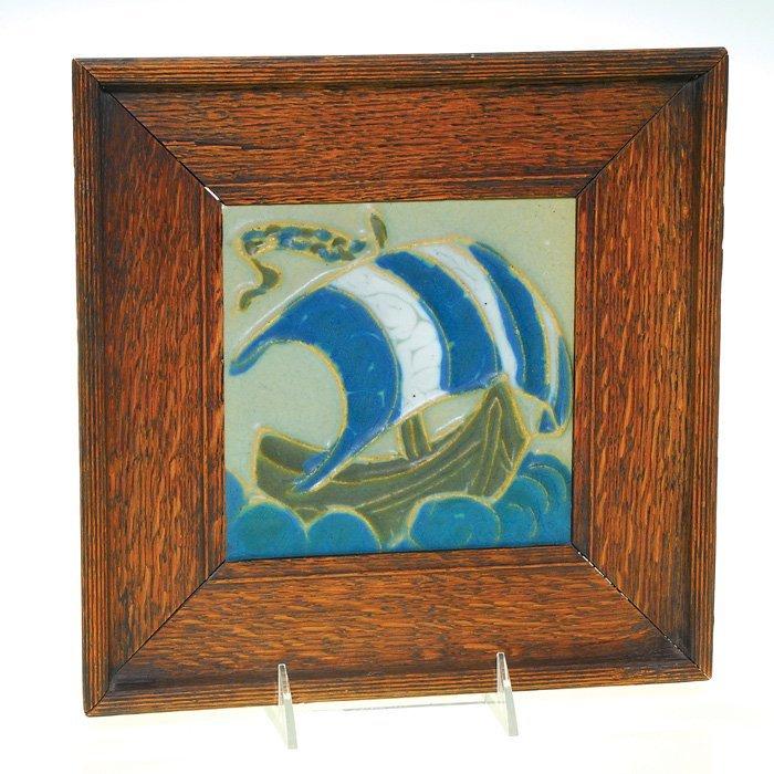 "1021: Rookwood Faience 6"" X 6"" tile, sailing ship"