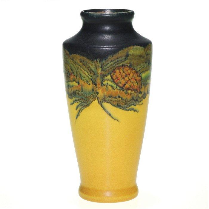 "1198: Rookwood Mat 9 3/8"" vase, pine cones, Lincoln,'20"