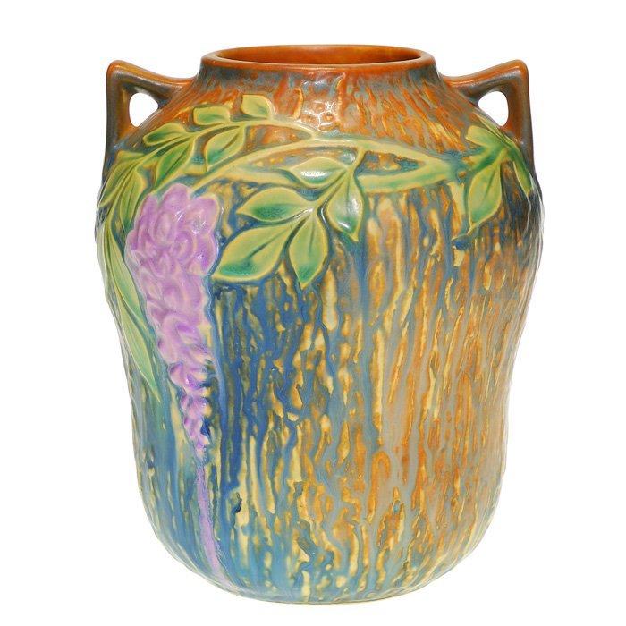 """Roseville Wisteria vase, blue, 7"""", """"R"""" mark"""