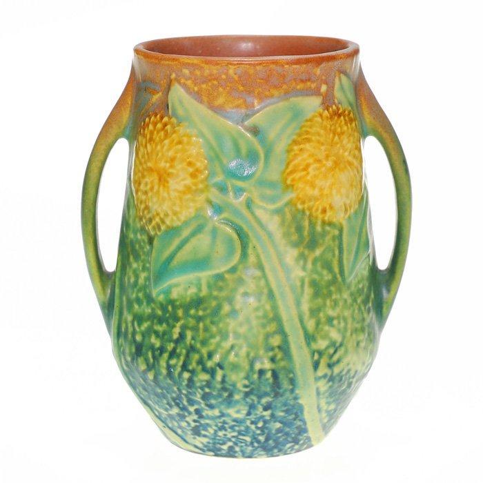 """Roseville Sunflower 5 1/8"""" vase, two handles"""