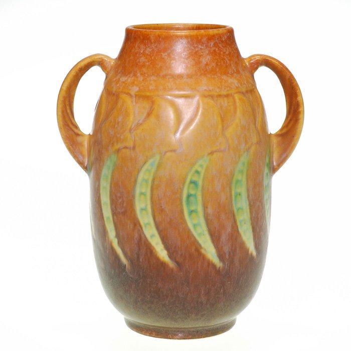 "Roseville Falline vase in brown, shape 643-6"""