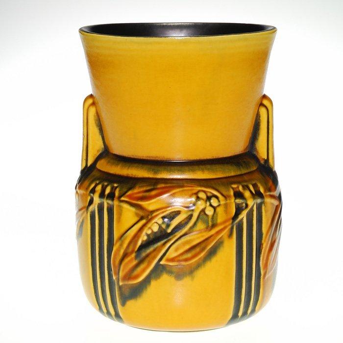 """Roseville Laurel vase in gold, shape 675, 9"""", sticker"""