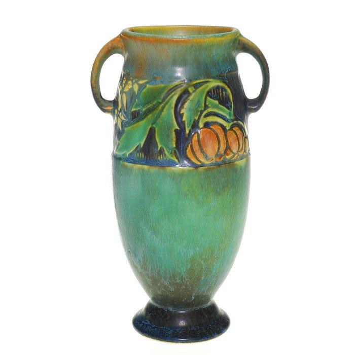 """Roseville Baneda vase in green, shape 588-6, 6 1/8"""""""