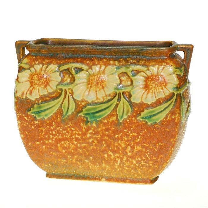 """Roseville Dahlrose pillow vase, 5 1/8""""X6 1/2"""""""