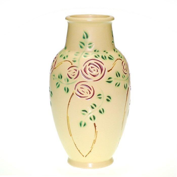 """Roseville Velmos Scroll vase, 9 7/8"""""""