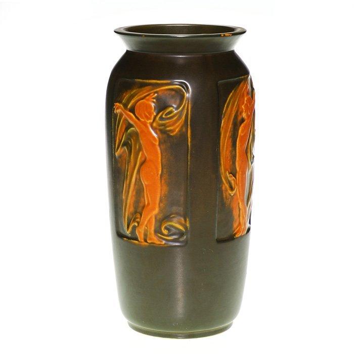 """Roseville Rosecraft Panel vase, nudes, 10 1/4"""""""