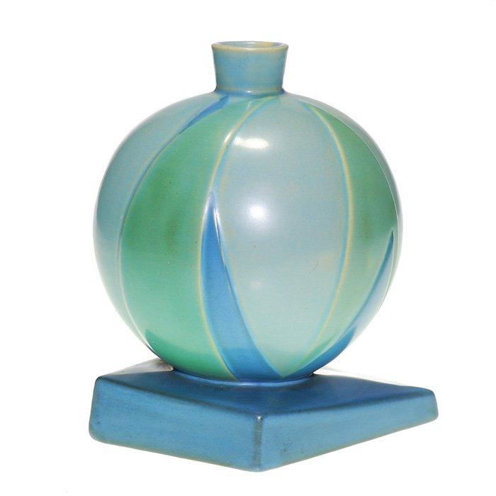 "Roseville Futura ""Bamboo Leaf Ball"" vase, 387-7"""