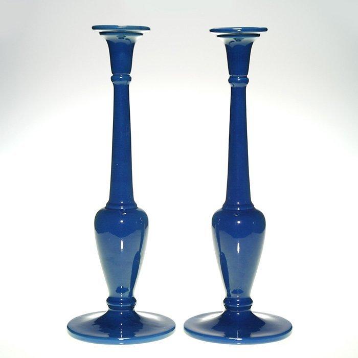 """Pair Roseville tall blue candlesticks, 15"""", sticker"""