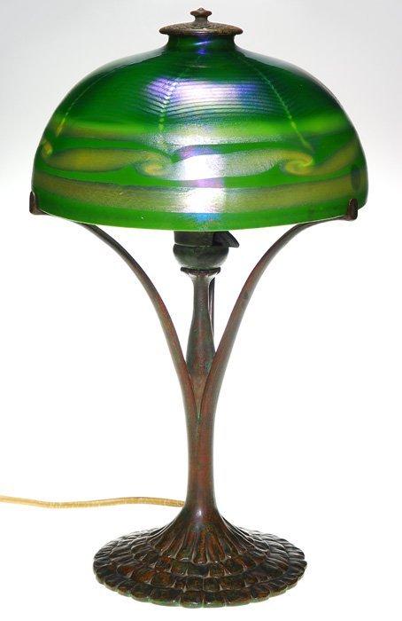 "Tiffany Damascene desk lamp, petal base, 16 3/4""T"