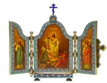 Russian Icon Triptych Resurrection 6 wood case