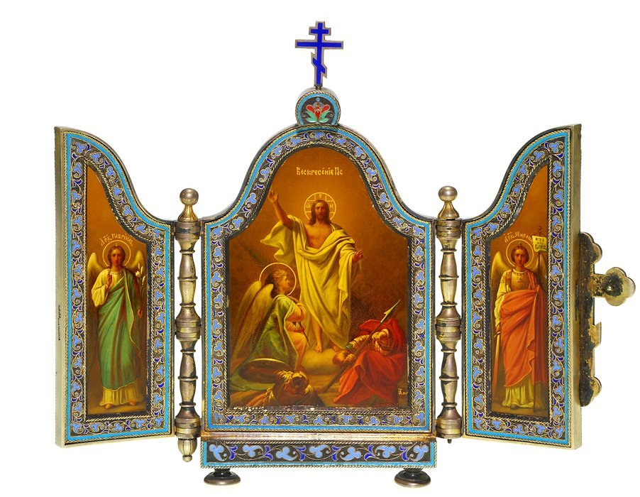 """Russian Icon Triptych, Resurrection, 6""""; wood case"""