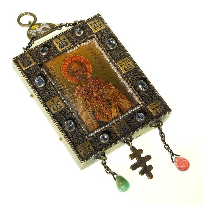 "Russian Icon ""St Nicholas Wonder Worker"",2 1/4""X2 3/4"""