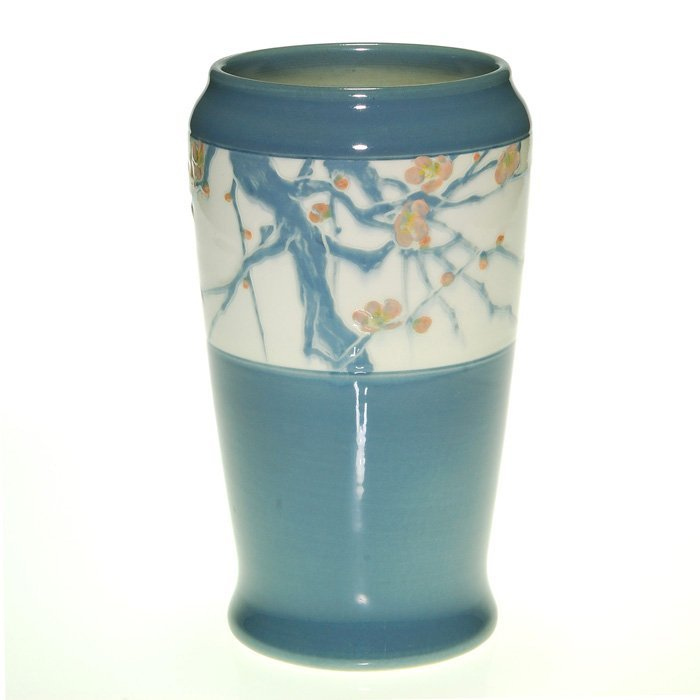 Rookwood Iris vase, floral, E.T. Hurley, 8 1/2""
