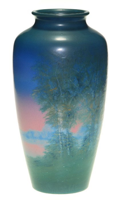 "Rookwood Vellum vase, Hurley, red sky, 10 3/4"""