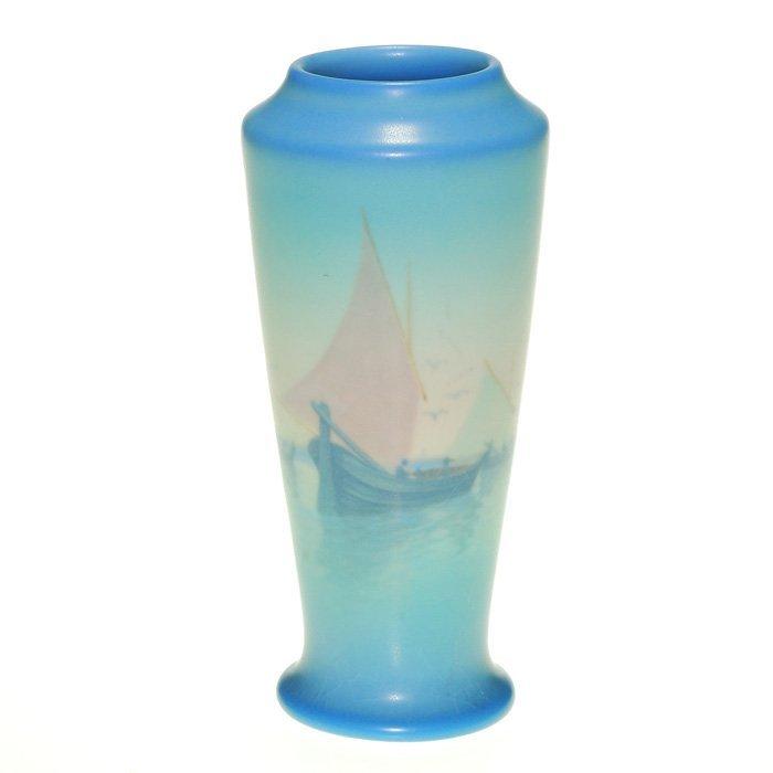"""Rookwood Vellum harbor vase, Schmidt, '25, 6 1/4"""""""