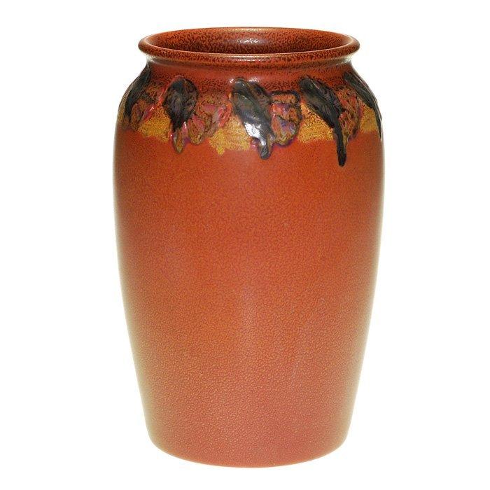 """Rookwood vase, carved mat, floral, Todd, 10 3/4"""""""