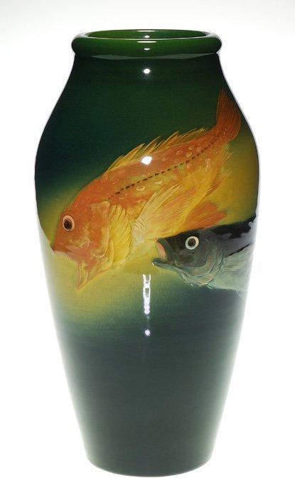 "Rookwood Sea Green, fish, Daly,  925 B, 12 1/4"""