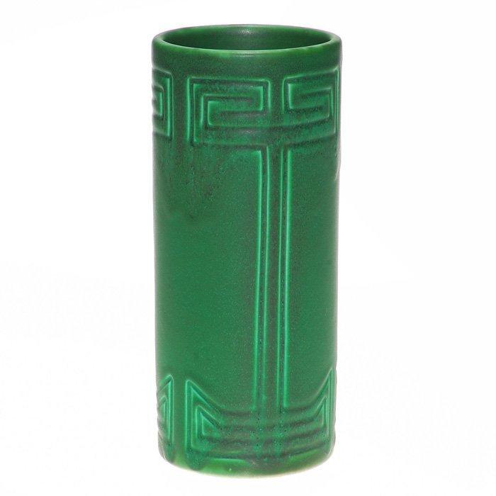 "Rookwood green mat vase, geometric, 1905, 8 1/4"""