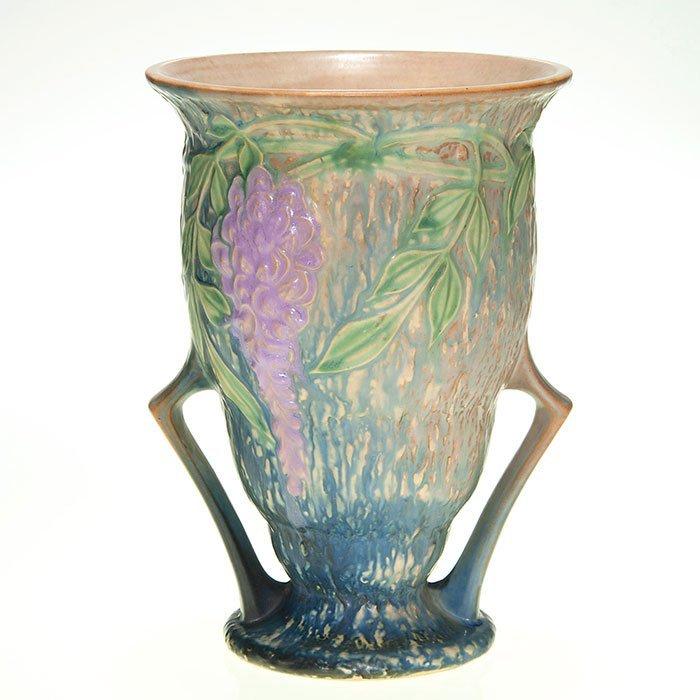 "Roseville Wisteria vase, handles, 9 1/4"""