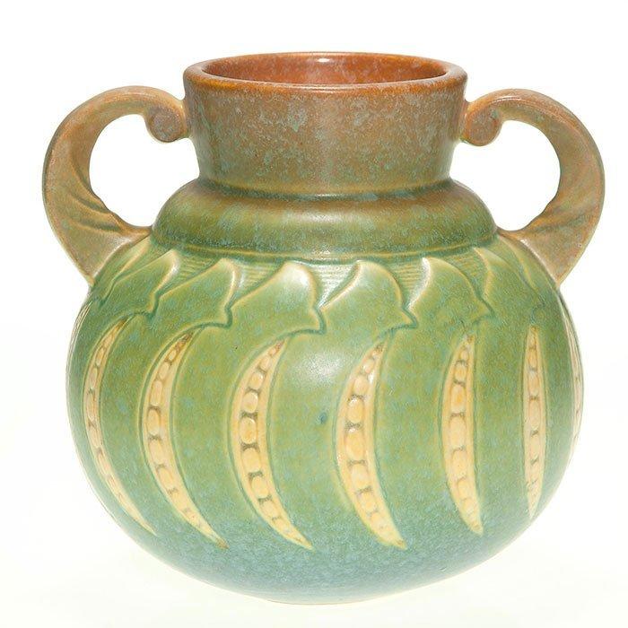 """Roseville Falline vase, handles, 6 1/8"""", sticker"""