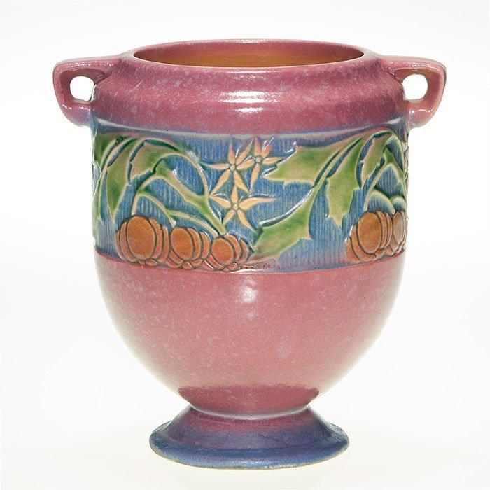 """Roseville Baneda vase, handles, pink, 7"""", shape 606"""