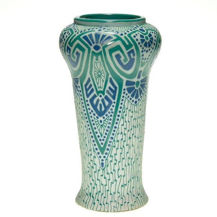 "Roseville Fudji, Arts & Crafts, turquoise, blue, 10"""