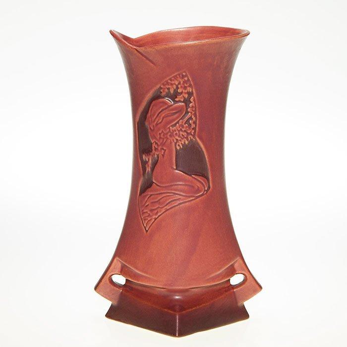 "Roseville Silhouette Nude vase, red, 787, 10 1/4"""