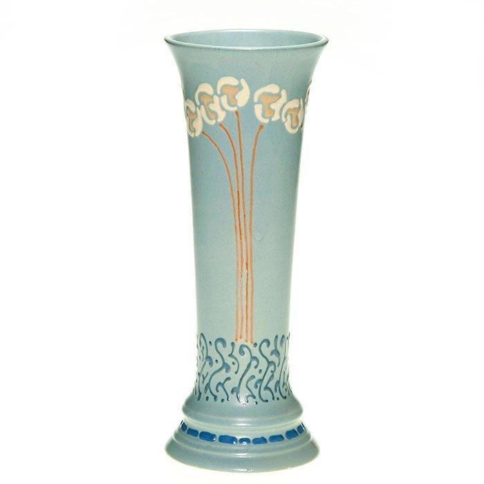 """Roseville """"Aztec"""" vase, floral, 11 1/8"""""""