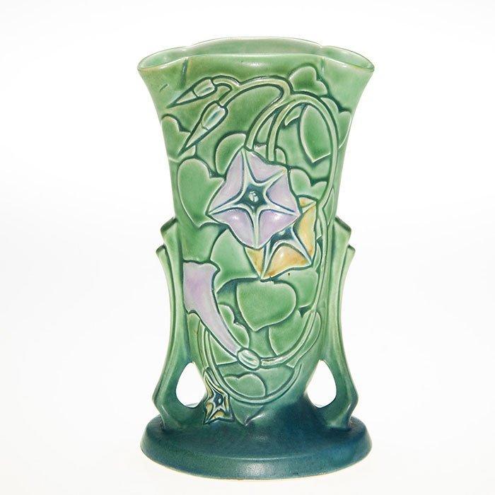 """Roseville Morning Glory handled vase, green, 7 3/8"""""""