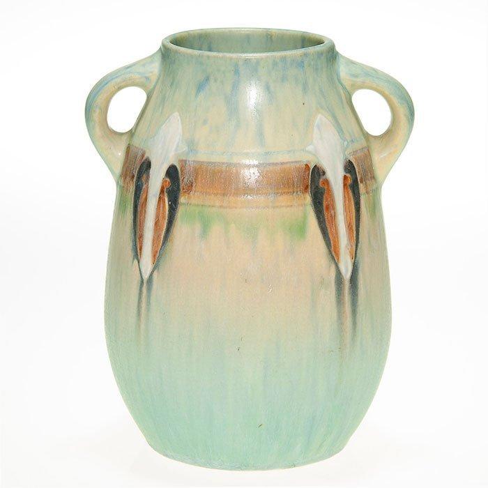 "Roseville Montacello handled vase, 7 1/8"""