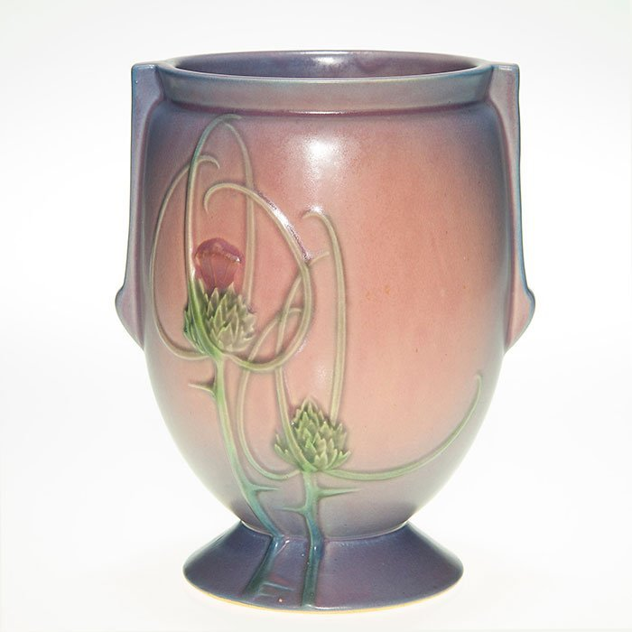 """Roseville Futura footed vase, pink, lilac, 8"""""""