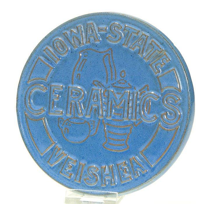 """Iowa State College """"Veishea"""" circular tile,1936, 5 5/8"""