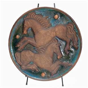 "Unique Waylande Gregory charger, horses, 21 3/4"""