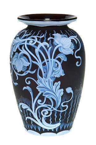 "Webb cameo vase, flowers, icicles, 5 3/4"", rare mark"