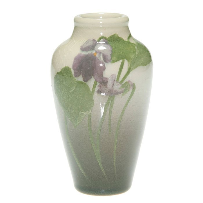 Rookwood Iris vase, violets, Bishop, 4 5/8""