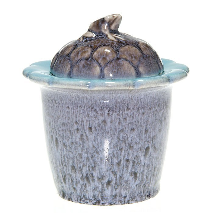 Rookwood lidded jar, frog, gray, 5""
