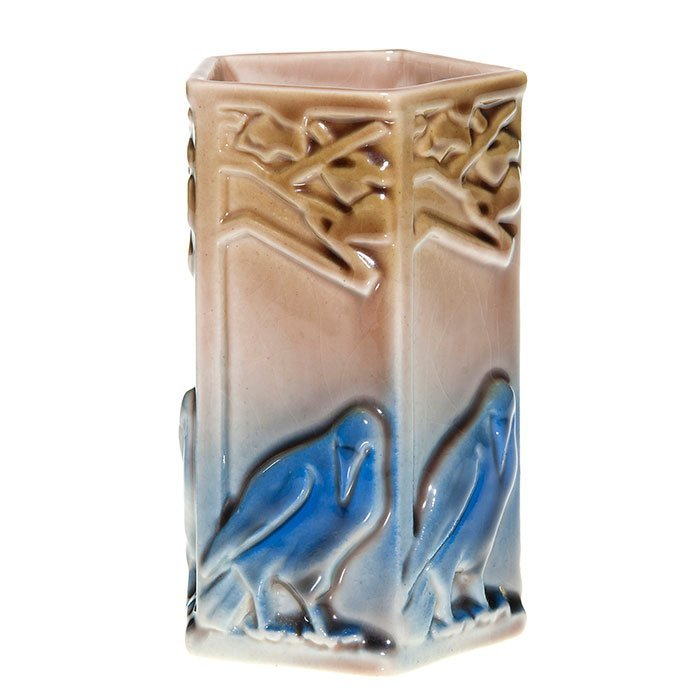 Rookwood pencil holder, rooks, polychrome, 4 3/4""