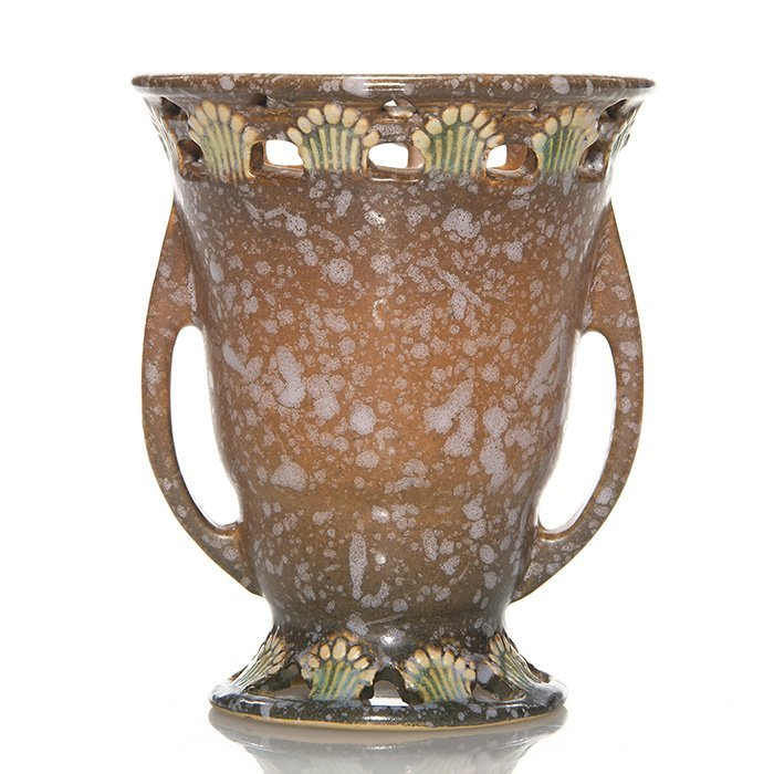 Roseville brown Ferella vase, shape 500-5, 5""