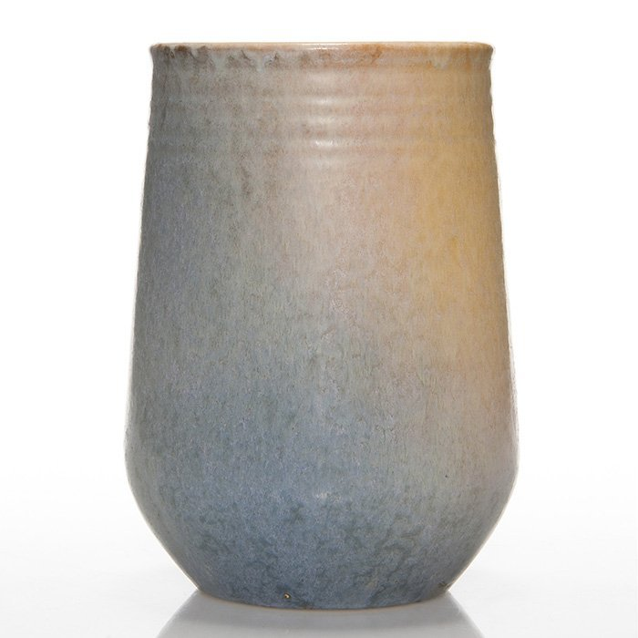 Roseville Earlham vase, blue and tan, 8 1/8""