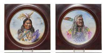 "2 Jean Pouyat Limoges Indian Portrait chargers, 13 1/2"""