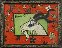 Henry Faulkner oil blue eyed goat 10 58x14